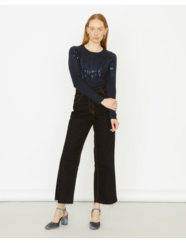 Graduated Sequin Long Sleeve Crew Top by Jigsaw