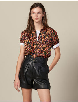 Leather Shorts With Quilted Waist by Sandro Paris