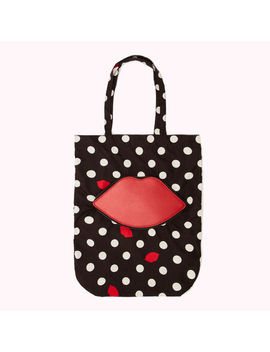 Polka Dot Lip Foldaway Shopper by Lulu Guinness