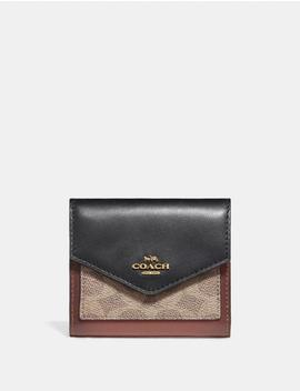 Small Wallet In Colorblock Signature Canvas by Coach