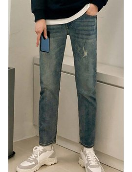 Inner Banding Span Distressed Cutting Jeans by Styleman