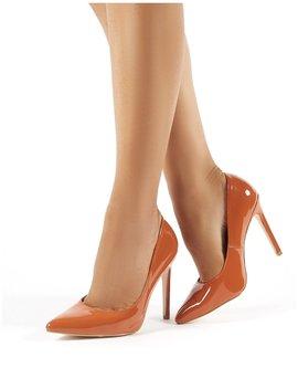 Sleek Tan Patent Court Heels by Public Desire