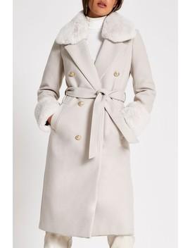 River Island Beige Villanelle Faux Fur Cuff Robe Coat by Next