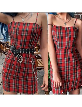 2020 New Red Plaid Dress by Kokopiecoco