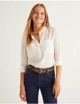 Silk Collarless Blouse by Boden