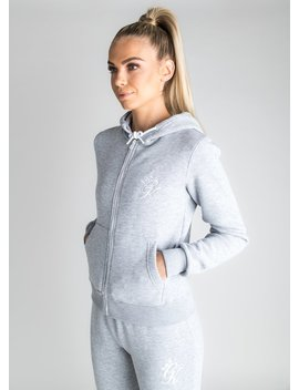 Gk Jenner Zip Through Hoodie   Grey Marl by The Gym King