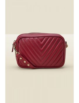 Red Leather Quilted Cross Body Bag by Sosandar