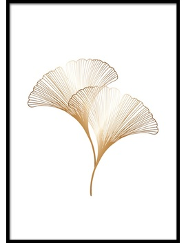 Ginkgo Leaves Gold Poster by Desenio