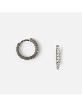 Mini Pave Huggie Hoop Earrings   Gunmetal by Orelia