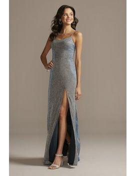 Glitter Knit Spaghetti Strap Dress With Skirt Slit by Teeze Me