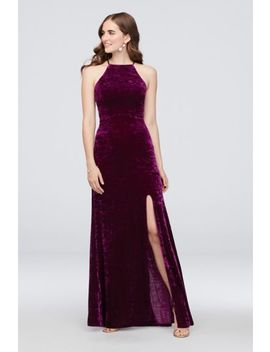 Crushed Velvet Lace Up Halter Gown by Morgan And Co