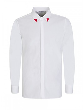 Neil Barrett White Red Tipped Collar Shirt by Neil Barrett