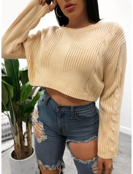 Josephine Crop Sweater (Cream) by Laura's Boutique