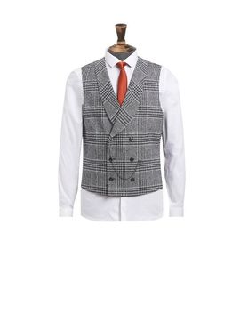 Grey Textured Check Suit Waistcoat by Burton