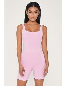 Jaelyn Thin Strap Square Neck Bodysuit   Pink by Meshki
