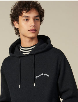Hoodie With Lettering Embroidery by Sandro Paris