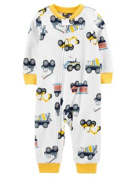 Carter's          1 Piece Construction Truck Fleece Footless P Js by Carters