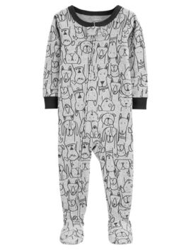 Carter's          1 Piece Dog Print Snug Fit Cotton Footie P Js by Carters