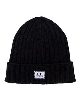 Mens Knitted Wool Beanie With Badge Logo by C.P. Company