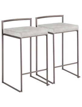 Lumi Source Fuji Counter Stool, Antique With Light Gray Cowboy, Set Of 2 by Lumi Source
