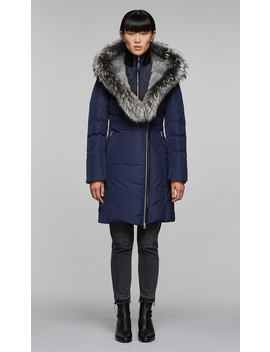 Down Coat With Silver Fox Fur Trimmed Collar & Hood by Mackage