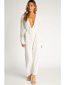 Long Way Up White Belted Jumpsuit by Dissh