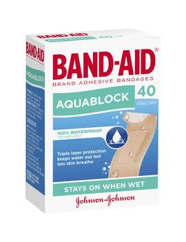 Band Aid Waterproof Aquablock Sterile Strips 40 Pack by Woolworths