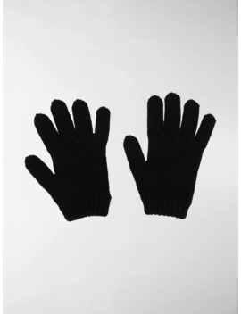 Thunderbolt Cable Knit Gloves by Prada