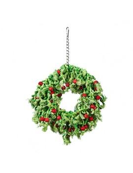 Joy Love Hope Wood Wreath Sisal Bird Toy Green Red by Petbarn