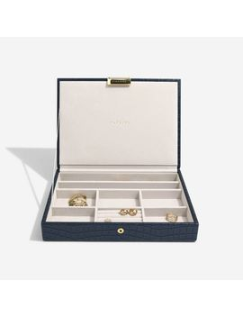 Navy Croc Classic Jewellery Box Lid by Stackers