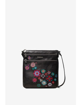 Black Square Sling Bag Triple Outer Compartment by Desigual