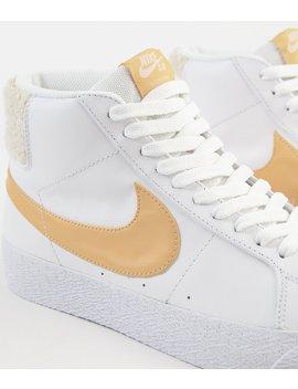 Nike Sb Blazer Mid Premium Shoes   White / Celestial Gold by Nike Sb