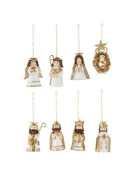 White And Gold Nativity Christmas Tree Decorations   Pack Of 8 by Paperchase
