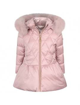 Girls Pink Down Padded Quilted Coat by Baby A