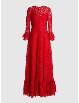 Flared Sleeve Viscose Cotton Blend Lace Gown by ‎Valentino‎