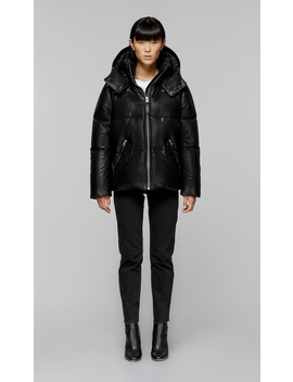 Down Filled Leather Jacket With Removable Hood by Mackage