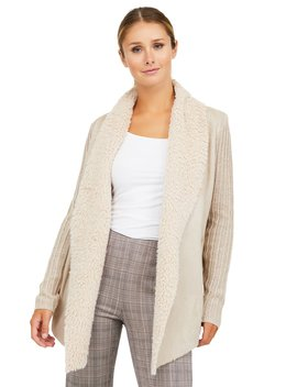 Sherpa Rib Knit & Suede Duster by Suzy Shier