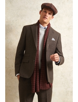 Moss London Slim Fit Chocolate Herringbone Tweed Suit by Moss Bros
