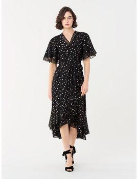Berdina Metallic Clip High Low Wrap Dress by Dvf