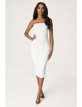 Meshelle Ruched Strapless Midi Dress   White by Meshki