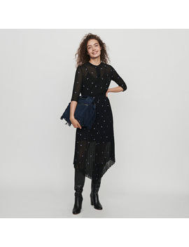 Pleated Dress With Embroidered Cashmere by Maje