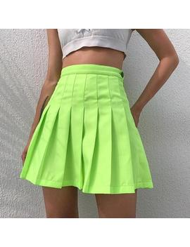 Neon Dream Pleated Skirt  Cotton Pleated School Girl Skirt In Neon Green. Zips At Side. Small Fits Usa 00 2 Medium Fits Usa 3 5 Large Fits Usa 5 8 by Alien Outfitters