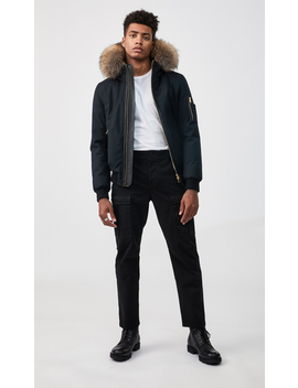 Fur Lined Bomber Jacket With Natural Fur Trim by Fultonfulton