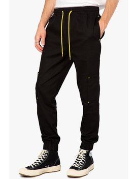 Black/Yellow Pop Color Patch Pocket Jogger by Elwood Clothing