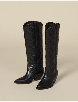Quilted Leather Tall Cowboy Boots by Sandro Paris