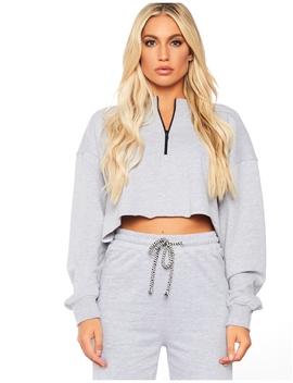 Grey Marl Zip Pull Crop Sweatshirt by Public Desire