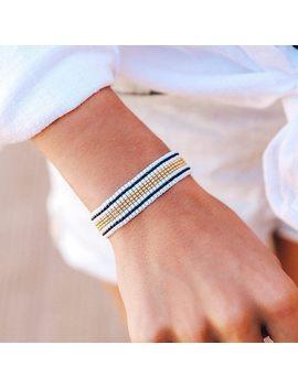 Striped Beaded Bracelet Black & White by Pura Vida Bracelets