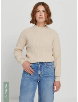 Sea Cell™ Cotton Oversized Cropped Sweater In Linen Beige by Frank & Oak