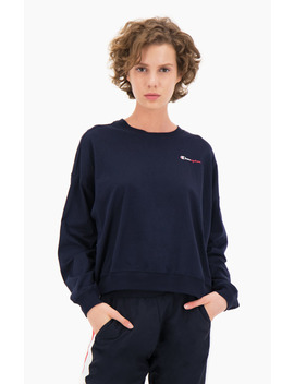 Two Tone Logo Stripe Back Long Sleeved T Shirt by Champion