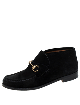 Gucci Black Suede Leather Horsebit Loafers Ankle Boots Size 39.5 by The Luxury Closet
